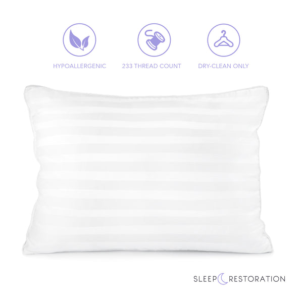 Sleep Restoration 1800 Series Gusset Gel Pillow - Plush Cooling Gel Fiber - Hypoallergenic