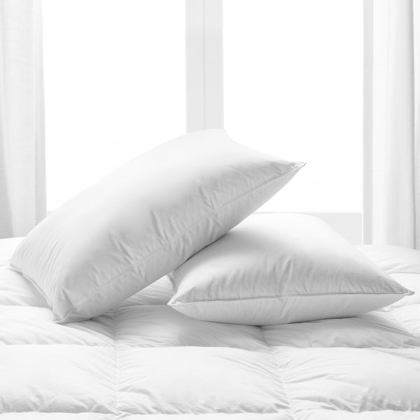 Park Hotel Collection White Down Pillow 2-Pack with  Long-Staple Cotton Shell - Filled in the USA with RDS Certified, Responsibly Sourced Down - Hypoallergenic - 550 Fill Power