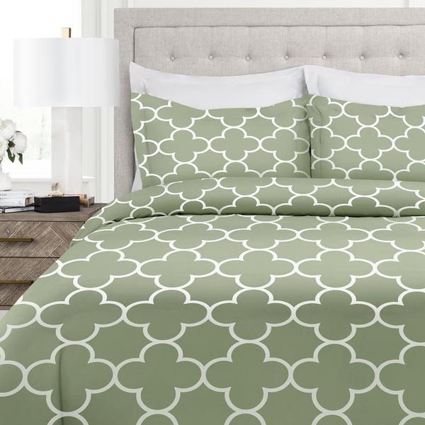Italian Luxury Clover Pattern Duvet Cover Set - 3-Piece Ultra Soft Double Brushed Microfiber Printed Cover with Shams