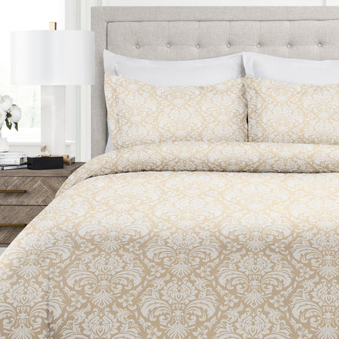 Italian Luxury Damask Pattern Duvet Cover Set - 3-Piece Ultra Soft Double Brushed Microfiber Printed Cover with Sham