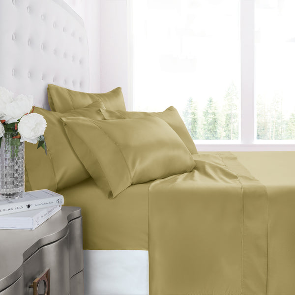 Egyptian Luxury 1200 Series Silky Soft Satin 4-Piece Bed Sheet Set - Ultra Smooth Satin Microfiber - Wrinkle and Fade Resistant, Hypoallergenic Sheet and Pillow Case Set