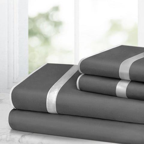 Italian Luxury Bed Sheet Set – 1500 Hotel Collection w/Beautiful Satin Band Trim - Ultra Soft Wrinkle & Fade Resistant Microfiber, Hypoallergenic 4 Piece Set