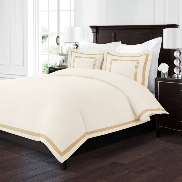 Sleep Restoration Luxury Soft Brushed Embroidered Microfiber Duvet Cover Set with Beautiful Trim & Embroidery Details - Hypoallergenic