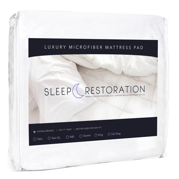 Sleep Restoration Fitted Microfiber Mattress Pad Cover - Plush Quilted Luxurious Mattress Topper