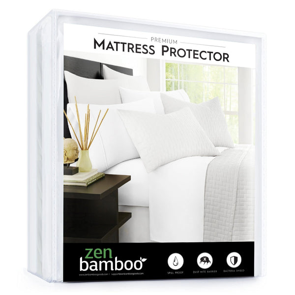 Zen Bamboo Mattress Protector - Best Lab Tested Premium Waterproof, Hypoallergenic, Cool and Breathable Rayon Derived from Bamboo Mattress Protector and Cover