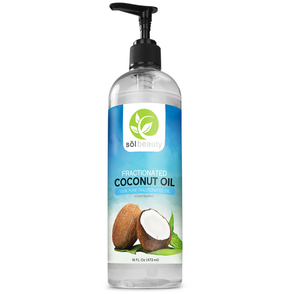 Sol Beauty Fractionated Coconut Oil Premium Therapeutic Grade - 16 Ounce Cold Pressed Liquid Carrier Oil or Hair, Skin, Aromatherapy, Massage, Relaxation, Moisturizing