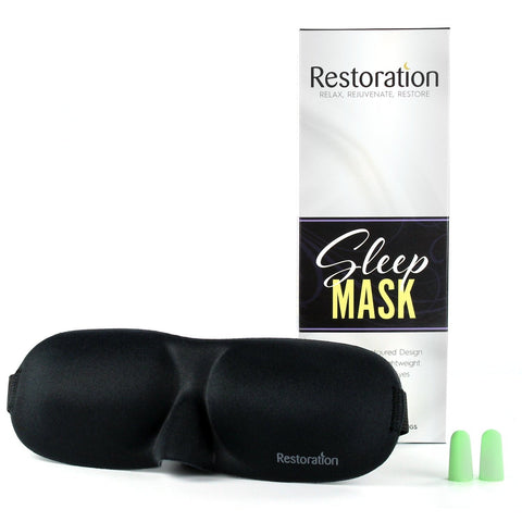 Sleep Restoration® Lightweight & Comfortable Contoured Sleep Mask Including Moldex® Ear Plugs – The Perfect Eye Mask for Bedtime, Meditation, Napping & Travel …