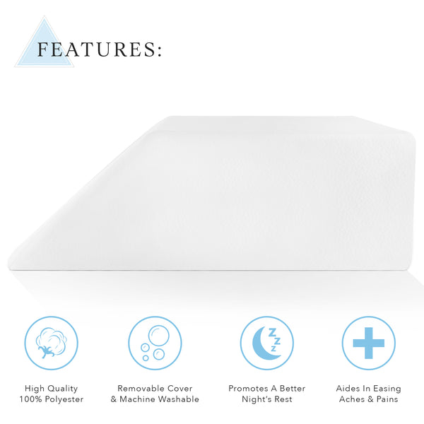 Restorology Elevating Foam Leg Rest Pillow - Best Wedge Pillow - Reduces Back Pain & Improves Circulation - Includes Removable Cover