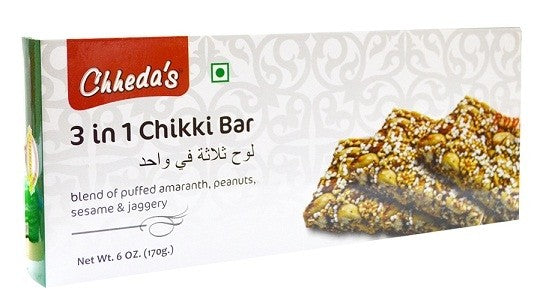 CHHEDAS 3 IN 1 CHIKKI BAR 170GM - Mabrook
