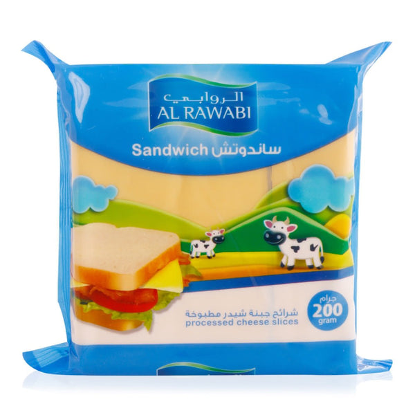 AL RAWABI  SANDWICH PROCESSED CHEESE SLICES - 200 GM - Mabrook