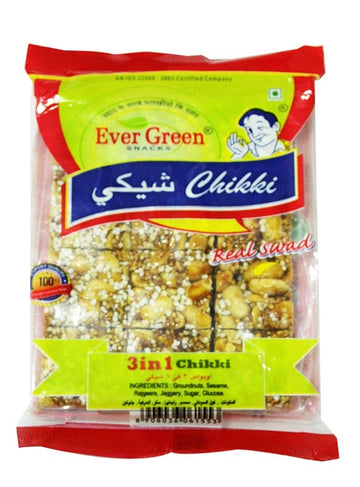 EVERGREEN 3 IN 1 CHIKKI 100GM