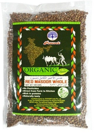 ORGANIC RED MASOOR WHOLE 500GM - Mabrook