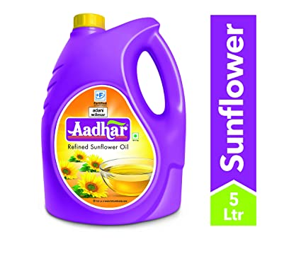 AADHAR SUNFLOWER OIL 5 LITRES - Mabrook