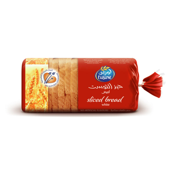 LUSINE SLICED WHITE BREAD 600G - Mabrook