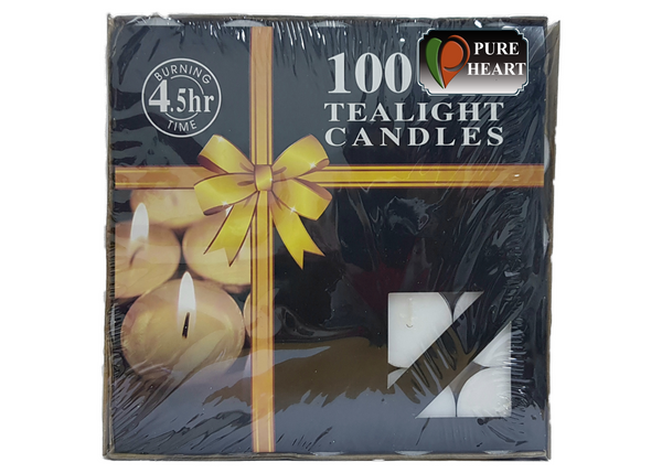 PURE HEART NEW TEA LIGHT CANDLES - 100 PCS - 10 G EACH - Mabrook