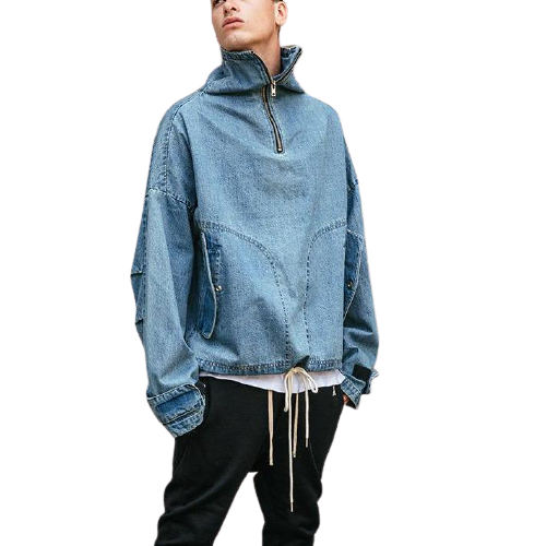 OVERSIZED DENIM WINDBREAKER - Binge Online Boutique