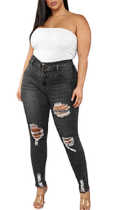 CURVY WOMEN'S RIPPED BLACK JEANS