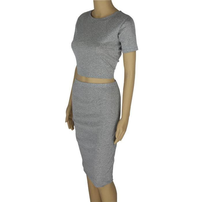 Gray Cropped Set - Binge Online Boutique