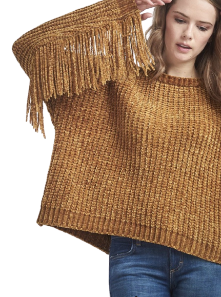 CABLE FRINGE SWEATER - Binge Online Boutique