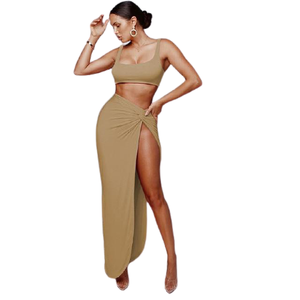 Crop Top Twist Side Split Skirt SET - Binge Online Boutique