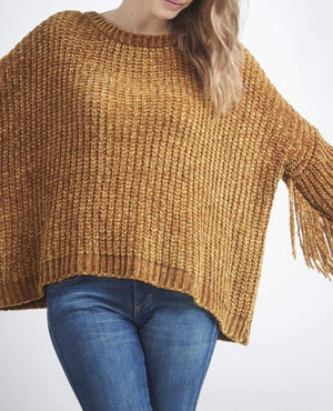 CABLE FRINGE SWEATER