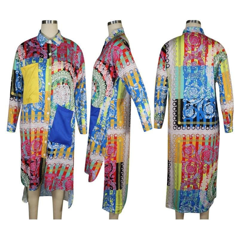 PATCHWORK SHIRT DRESS - Binge Online Boutique