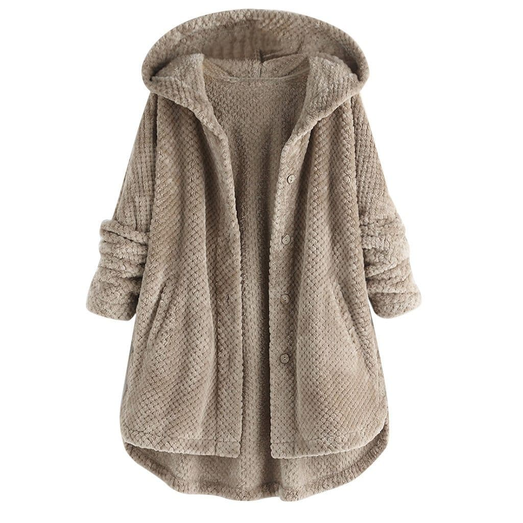 PLUSH HOODED BUTTON UP - Binge Online Boutique