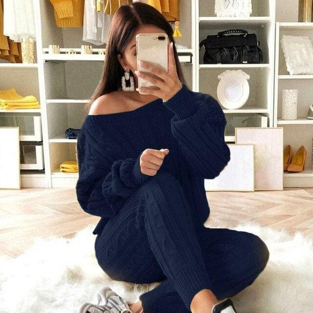 CABLE KNIT SWEATER SET [S-5XL]
