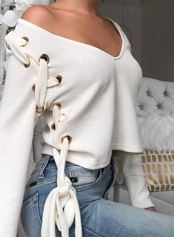 BANDAGE BOW TIE V-NECK CROP - Binge Online Boutique