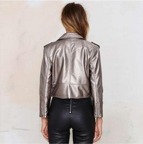 Cropped Silver PU Leather Jacket - Binge Online Boutique
