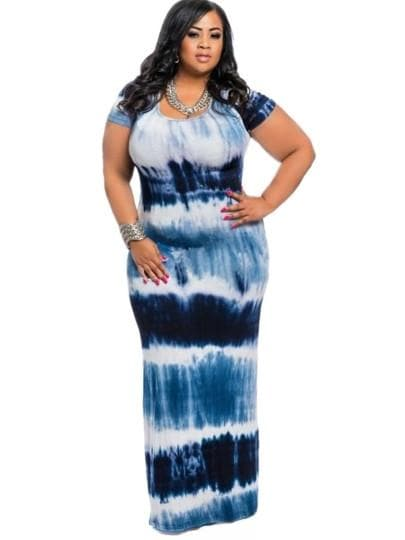 CURVY 90's Tie Dye Maxi Dress - Binge Online Boutique
