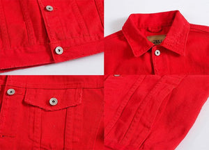 MENS Red Distressed Denim Jacket