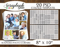"TWENTY 8"" x 10"" --ROUNDED CORNERS-- Digital Photo Collage Templates, PSD Format"