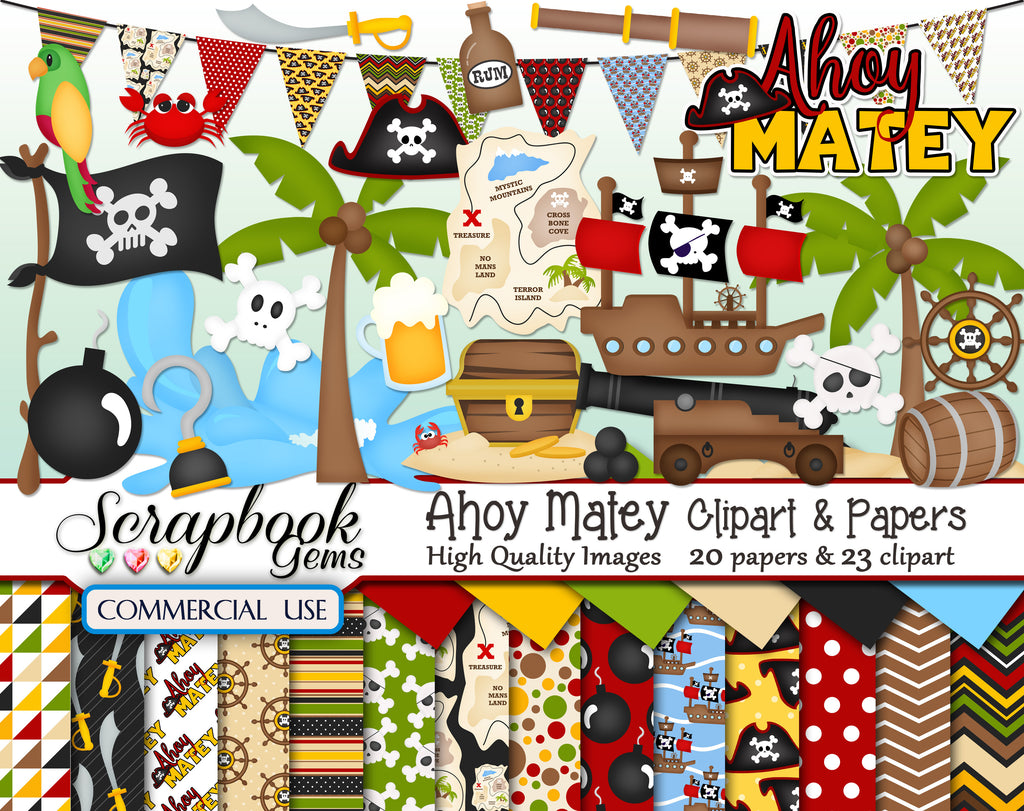 AHOY MATEY Clipart & Papers