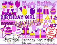 BIRTHDAY GIRL Clipart & Papers