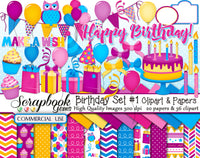 HAPPY BIRTHDAY #1 Clipart & Papers