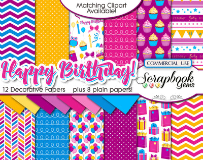 HAPPY BIRTHDAY #1 Digital Papers