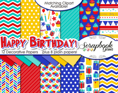 HAPPY BIRTHDAY #3 Digital Papers