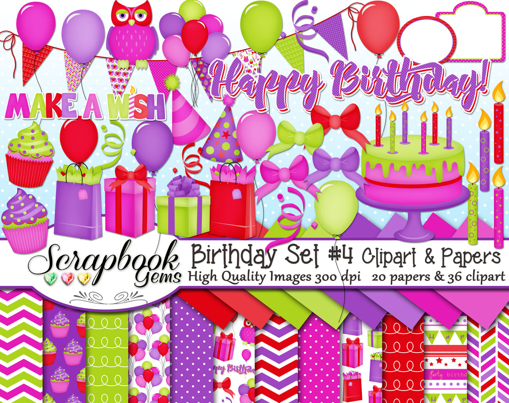 HAPPY BIRTHDAY #4 Clipart & Papers