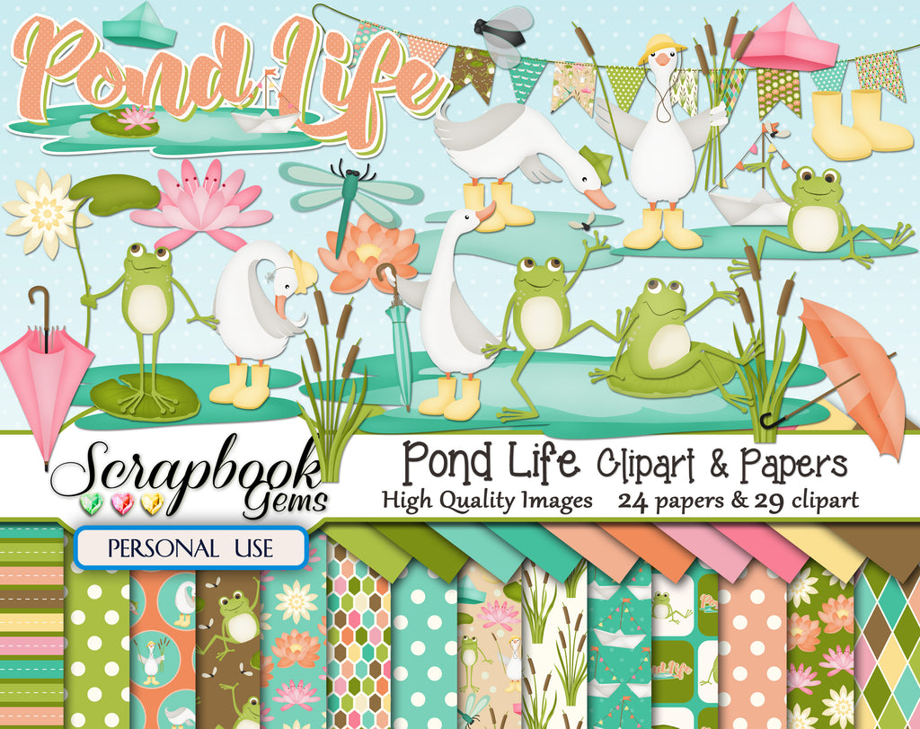 POND LIFE  Clipart & Papers