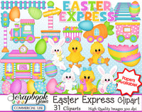 EASTER EXPRESS CLIPART AND PAPERS