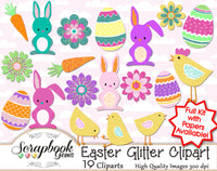 EASTER GLITTER Clipart & Papers