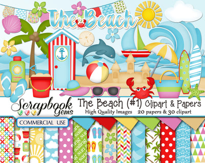THE BEACH (Kit #1) Clipart & Papers