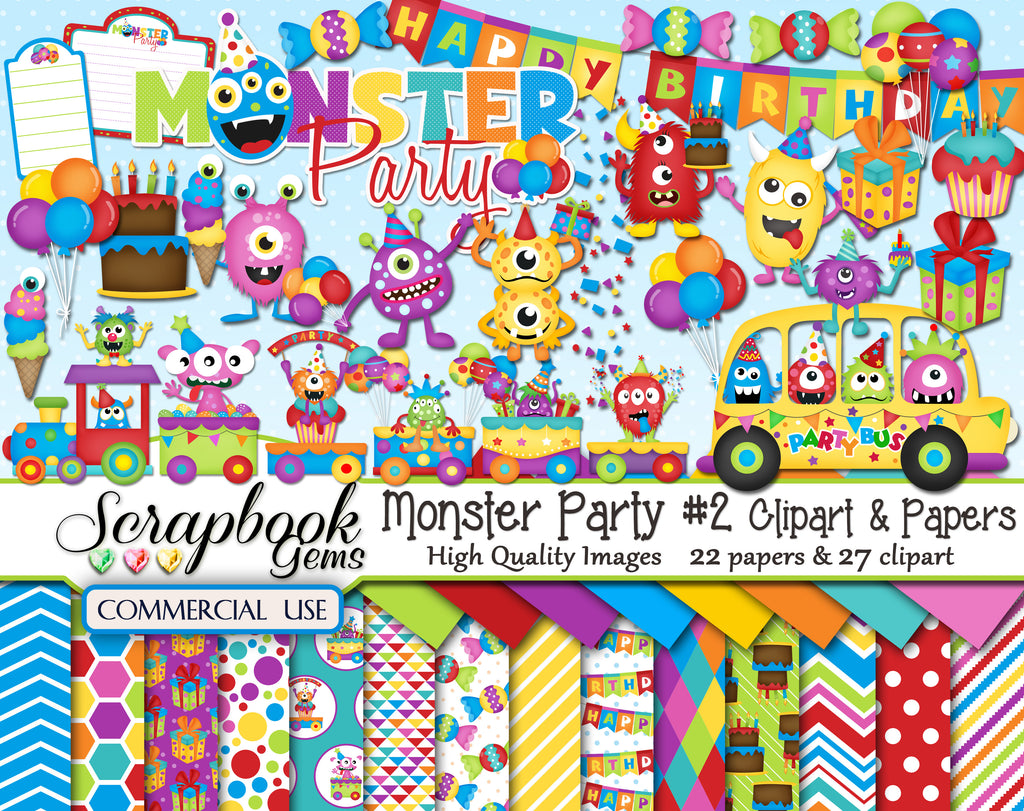 MONSTER PARTY #2 Clipart & Papers