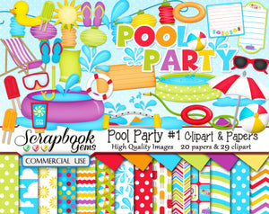 POOL PARTY (Kit #1) Clipart and Papers