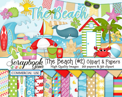 THE BEACH (Kit #2) Clipart & Papers