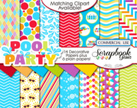 POOL PARTY (Kit #2) Clipart and Papers