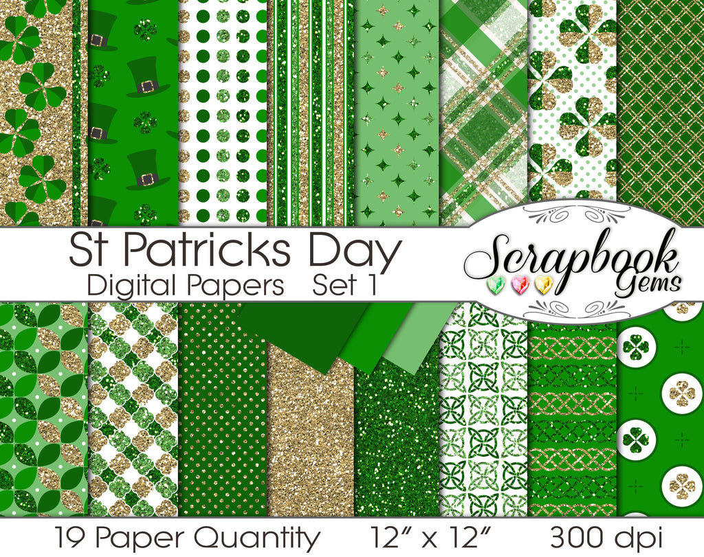 ST. PATRICK'S DAY Glitter Digital Papers