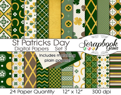 ST. PATRICK'S DAY Gold Foil Digital Papers