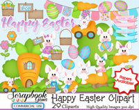 HAPPY EASTER CLIPART & PAPERS